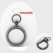 New Arrival! pocket watch design! 30mm magnetic closure black 316L stainless steel floating charm locket with czech crystals