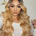 Brasileño de la virgen del pelo rubio onda del cuerpo del color Natural Sin Cola llena del cordón pelucas del frente del cordón pelucas de pelo humano para las mujeres negras