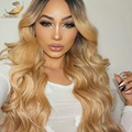 Brazilian virgin hair blonde color Natural body wave Glueless full lace wigs lace front human hair wigs for black women