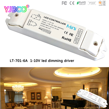 Free shipping LTECH LT-701-6A;0/1-10V LED dimming driver;DC12-24V input;6A*1CH output 5 years guarantee led controller