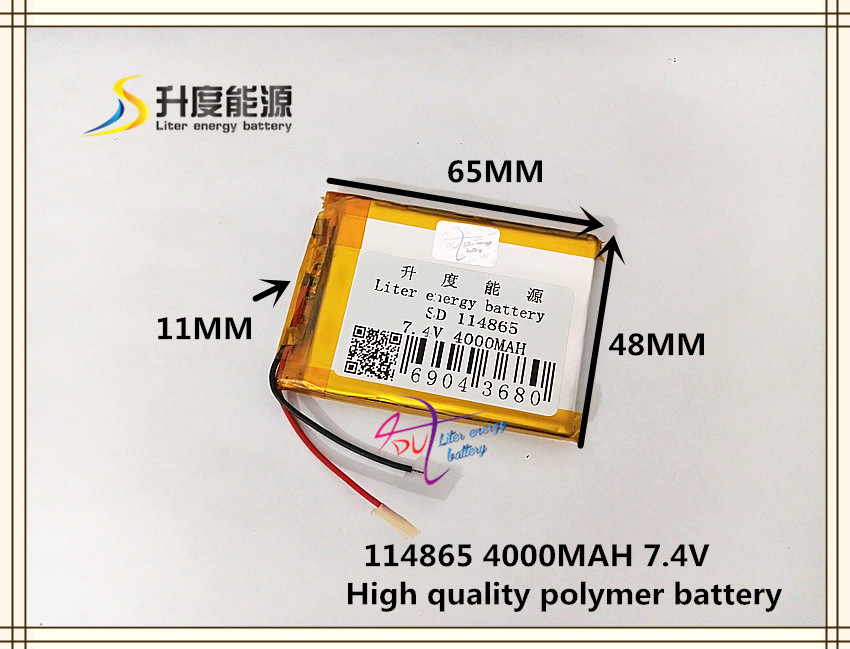 <font><b>7.4V</b></font> <font><b>4000mAH</b></font> 114865 Polymer lithium ion / Li-ion <font><b>battery</b></font> for POWER BANK tablet pc mp3 mp4 cell phone speaker image