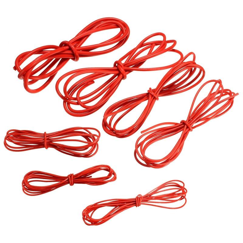 2 Mt Silikon Draht Kabel 10/12/14/16/18/20/22 Gauge AWG rot Flexible ...
