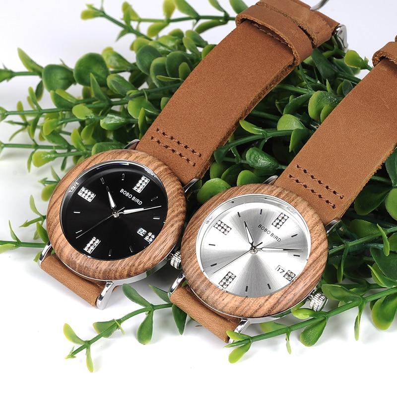2017 Creative Designer BOBO BIRD Wood Watch Women Quartz  Wristwatches Genuine Leather Strap Dropshipping -O28
