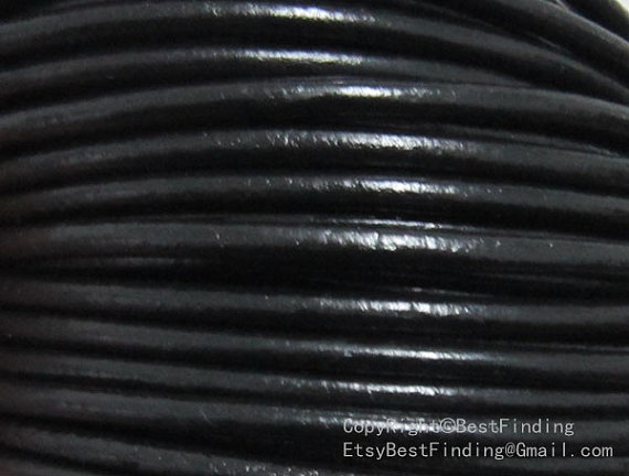 3mm Leather cord 3mm round leather cord black genuine leather strips in Jewelry Findings Components from Jewelry Accessories