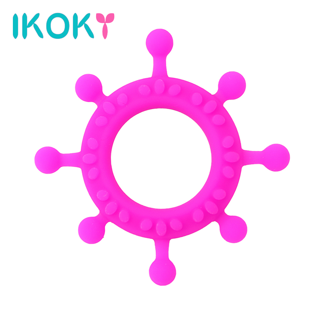 IKOKY Locking Cock Ring Delay Ejaculation Sex Toys for Men Gear Steering Wheel Shape Silicone Penis Ring Adult Products Sex Shop