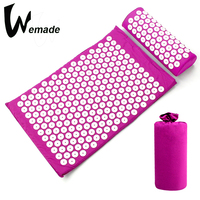 Acupressure Mat and Pillow Set Fitness Yoga Massage Mat Relief Body Pain Acupuncture Cushion with Carry Bag(general sectio)