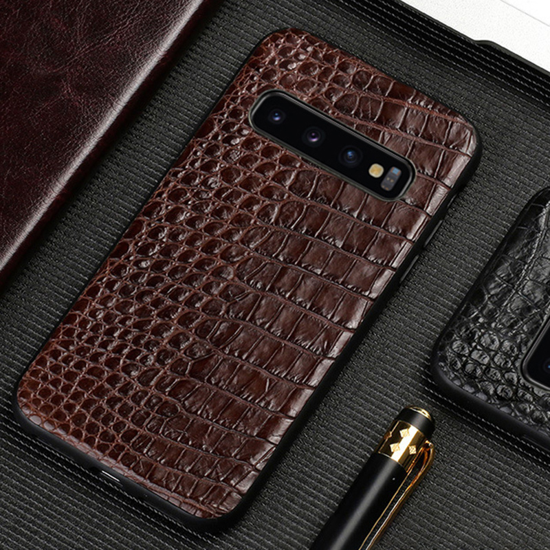 Caixa do telefone Para Samsung Galaxy Note 9 8 S10 S9 S8 Plus S7 S6 Borda A3 A5 A7 J5 J7 2017 Real Da Pele do Crocodilo Tampa Textura do Abdômen
