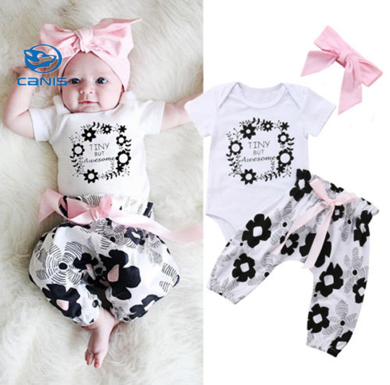 Pudcoco Cute Newborn Baby Girls Flower Print Tops Romper Pants Headband Outfits Set Clothes Set 0-24M