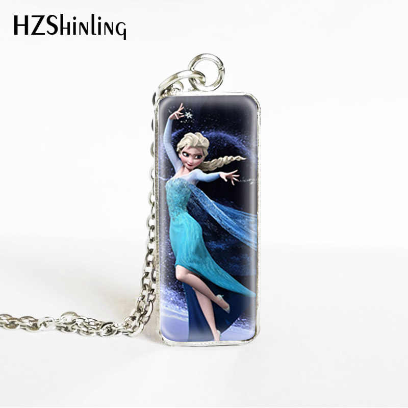 Snow Queen Elsa Anna Princess Rectangle Stainless Steel Pendants Cute Princess Elsa and Anna Jewelry Necklaces Gifts for Kids