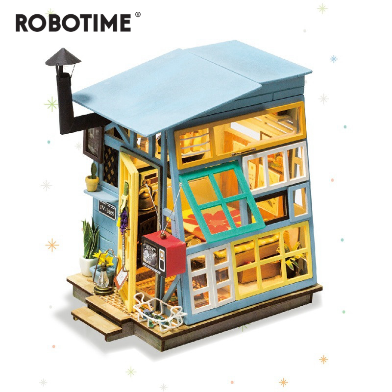 Robotime DIY Wooden Hut with Furniture Children Adult Miniature Doll House Model Building Kits Dollhouse Creative Toys DGM03 shelf