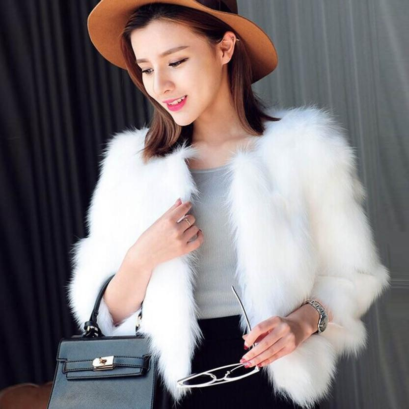 2017 soft faux fur coat women Fluffy warm long sleeve female outerwear black elegant autumn winter