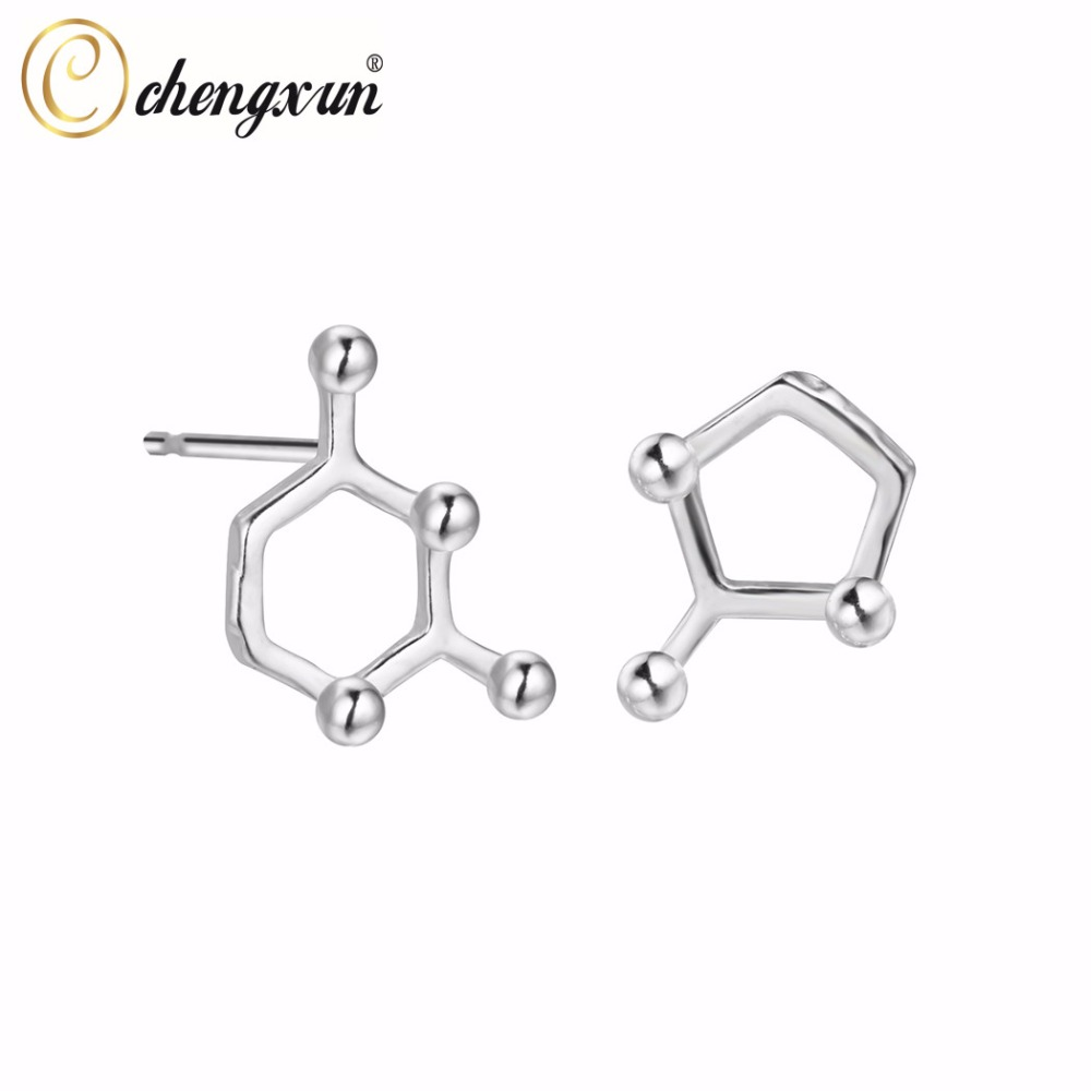 Chengxun 925 Sterling Silver Double Asymmetric Tiny Circle Pentagon  Geometric Post Stud Earrings Cool Punk Jewelry