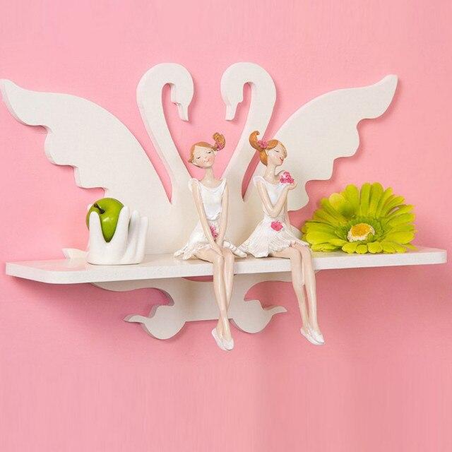 White Swan Wood Board Bathroom Shelves Wall Racks Living Room Home ...