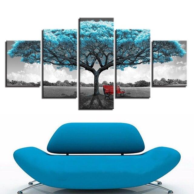 76cd2036f Cópias da lona Pinturas Quadro Sala de estar Decoração 5 peças Cadeira Azul  Vermelho Grande Árvore