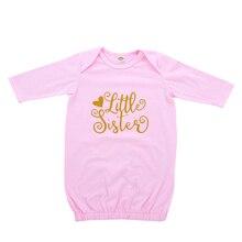 Детский комбинезон с цветочным принтом в виде Свинки для сна для всей семьи, Детский Розовый спальный мешок-конверт с длинными рукавами и принтом маленькой сестры для новорожденных девочек