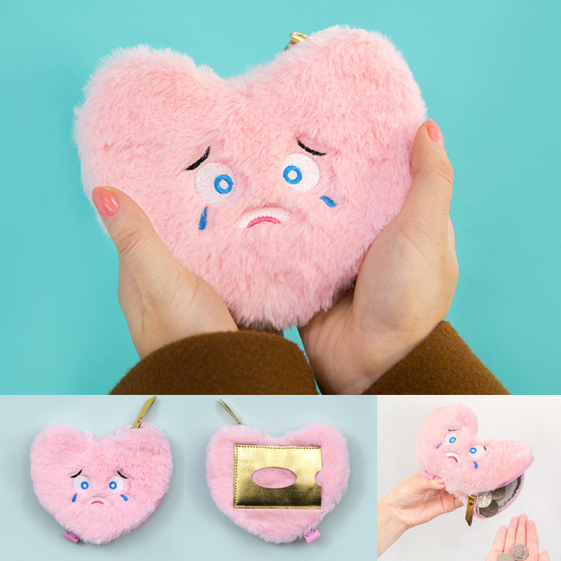 Expression Funny Face Plush Lint Change Package Lovely Embroidery Card Set Multipurpose Heart Shaped Plush Wallet Novelty Toy