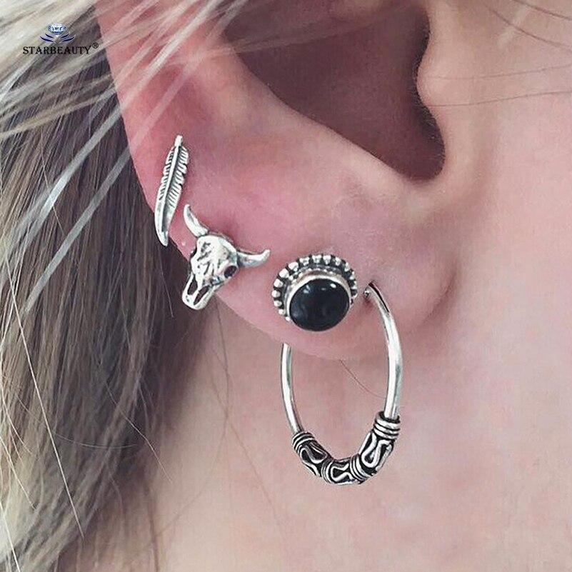 Starbeauty 4pcs Lot Bull Head Leaf Ear Fake Piercing Helix