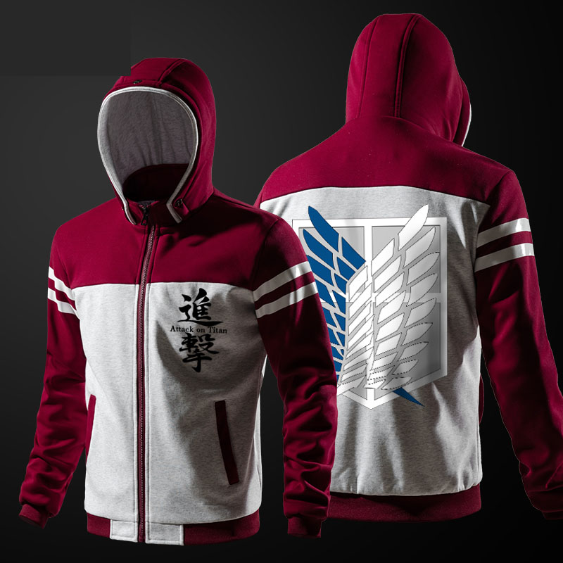 Attack On Titan Hoodies Mens Luminous Casual Sweatshirts Zipper Winter Thick Coat Red Blue XXL