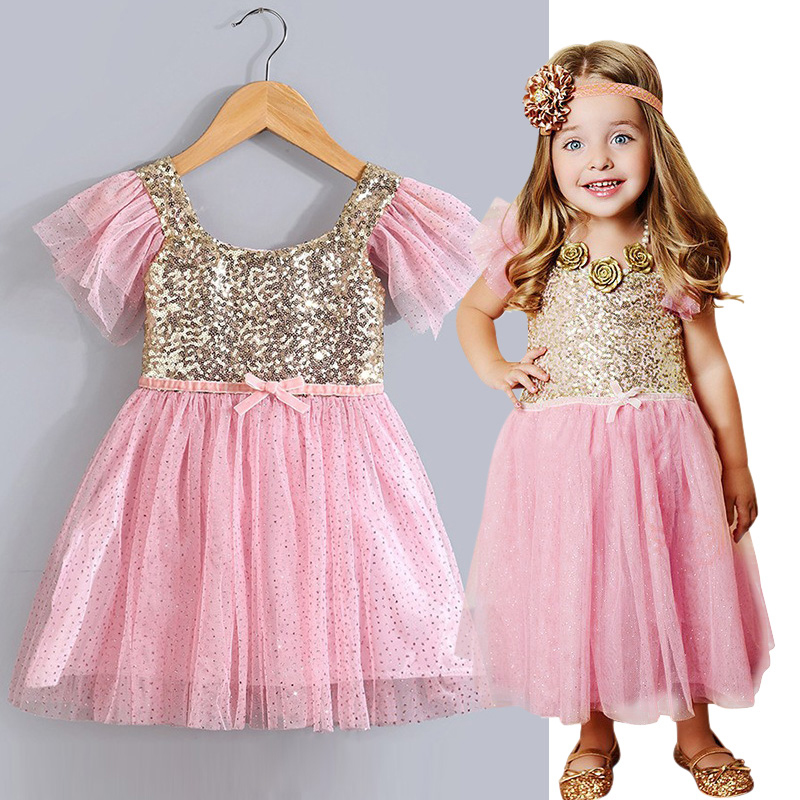 0edecd0f4b0 Girls Christmas Dress Summer Kids Clothes Sequin Petal Sleeve Party Cotton  Lace Baby Girls Dresses Toddler Girl Clothing-in Dresses from Mother   Kids  on ...