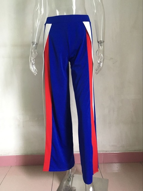wide leg pants 2017 summer sexy Slits casual beach pants female party mid loose trousers women's nightclub side stripe bottoms