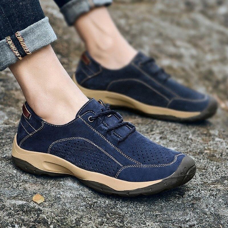 Backcamel 2018 été nouveau Style hommes chaussures vulcanisées en cuir percé creux extérieur antidérapant chaussures de voyage qualité taille 38-44