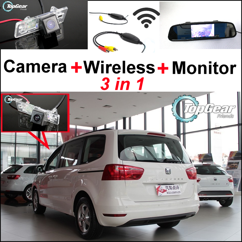 3in1 Wireless Receiver + Special Backup WiFi Camera + Mirror Monitor Parking Rear View System For SEAT ALHAMBRA 7N 2010~2014 wireless pager system 433 92mhz wireless restaurant table buzzer with monitor and watch receiver 3 display 42 call button