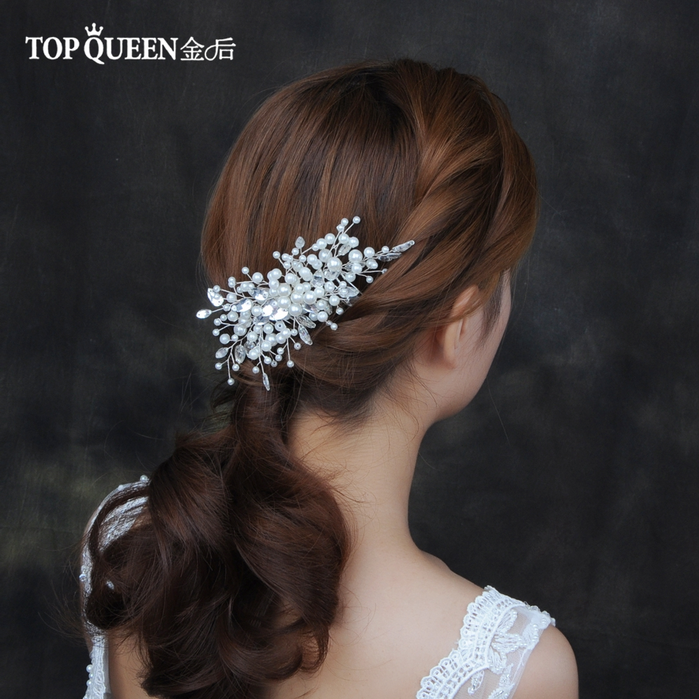 TOPQUEEN HP42 Hair Jewelry Handmade Pearl Beaded Wedding Hair Accessories Double Hair Comb Bride Hair Ornaments Headdress Bride