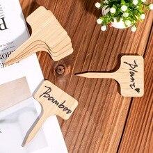 50 шт. бамбуковые этикетки для растений, экологически чистые Т-образные деревянные бирки для вывесок для растений садовые маркеры для семян в горшках травы цветы овощи