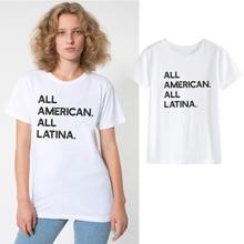 LUSLOS All American All Latina Shirt Afro-latina Fashion Tshirt Latina Clothing for Mom Women Summer Casual Streetwear Clothes