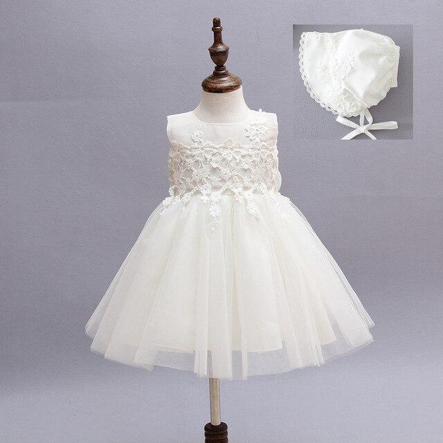 Девочка Платье С Шляпу Младенческой Принцесса Pageant Свадебные Маленькие Дети День Рождения Платье Новорожденных Крещение Платья С 0-24 м