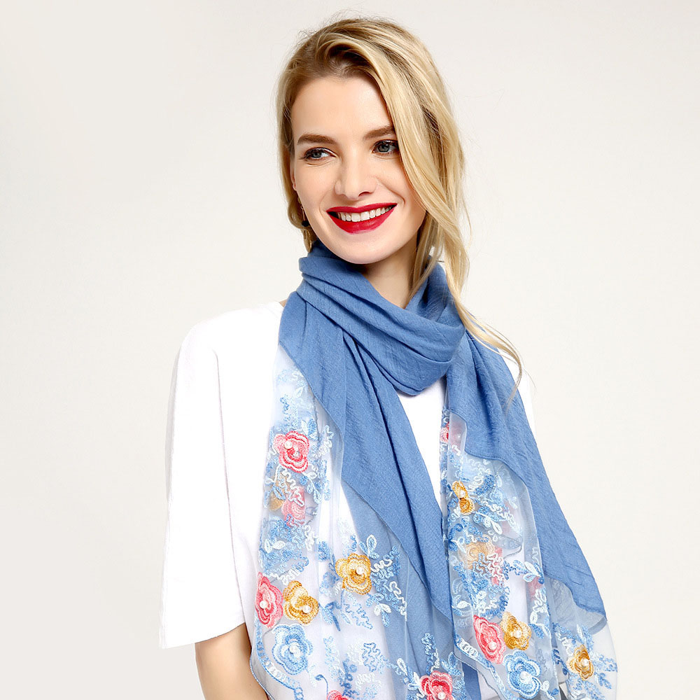 Audwhale Silk Scarf Foulard Pashmina Flower Women Shawls Soft Shaal Cotton Hair for Transparent