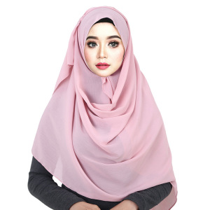 Image 3 - Chiffon Scarf Turban Women Solid Color Bubble Wrap Print Solid Color Shawl Turban Natural Wrinkle Muslim Headscarf Scarf
