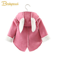 Fashion Suede   Baby   Coat Long Ears Plush Lining Hooded   Baby   Girl Clothes Autumn Infant Coat   Baby   Jacket   Outerwear   1PC