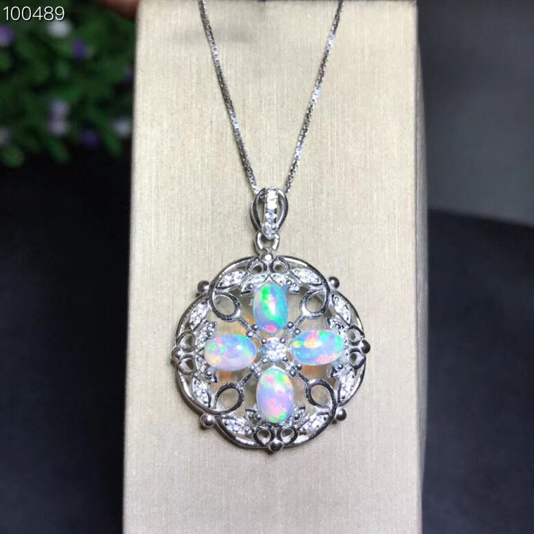 Uloveido Natural Opal Round Wedding Pendant Women 925 Sterling Silver Gemstone Anniversary Necklace Pendant for Women