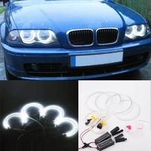 Angel Eyes Rings Headlight Auto DRL 4x 131mm Lamp KitLight For BMWE46 White Car LED CCFL Halo все цены