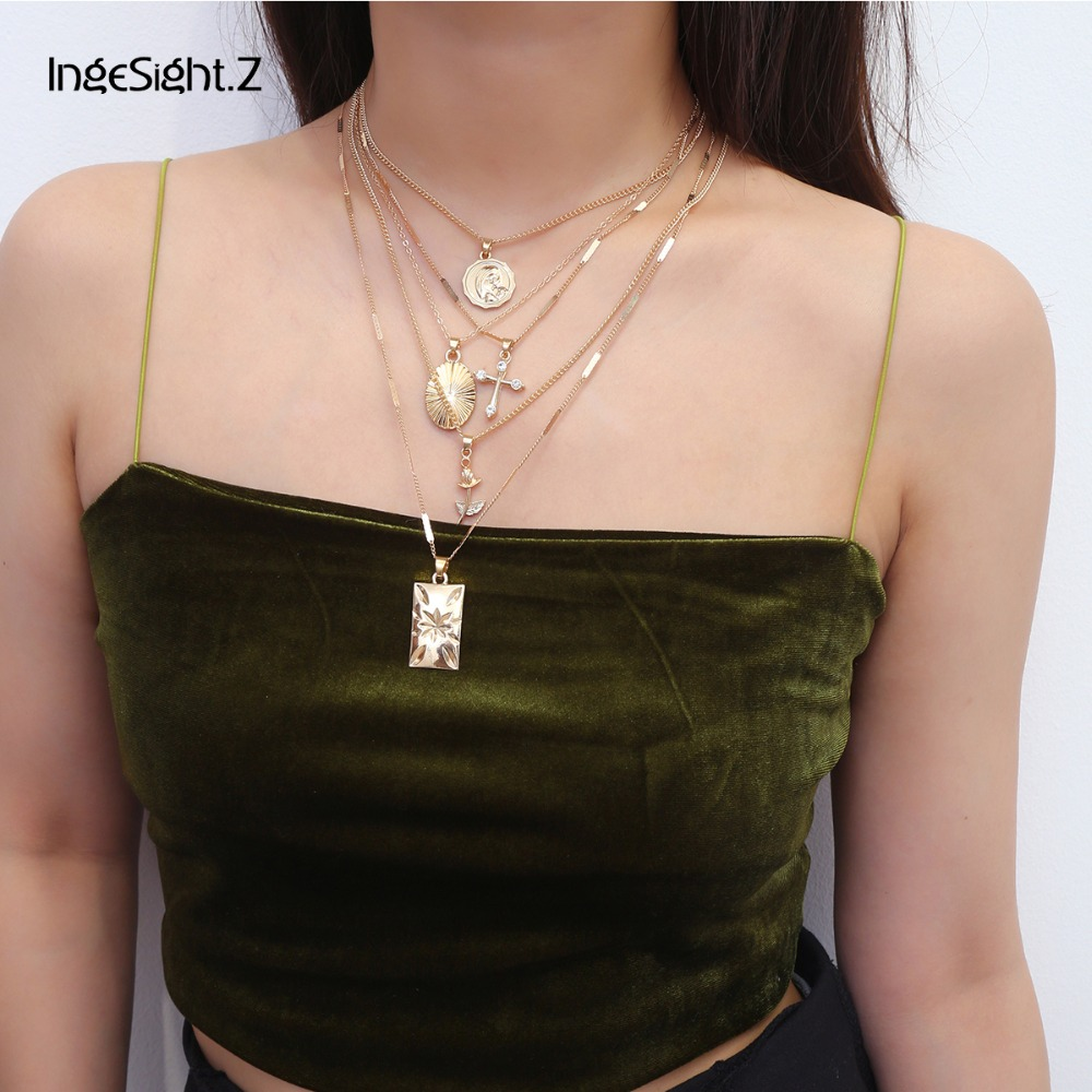 IngeSight.Z 5Pcs/Set Vintage Multi Layered Choker Necklace Collar Statement Cross Rose Flower Pendant Necklace for Women Jewelry chain