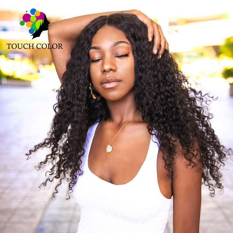Touch Color Hair 13x6 Lace Frontal Remy Hair 100% Curly Weave Human Hair 8 26 Inch Brazilian Hair Long Wigs Women 130% Density