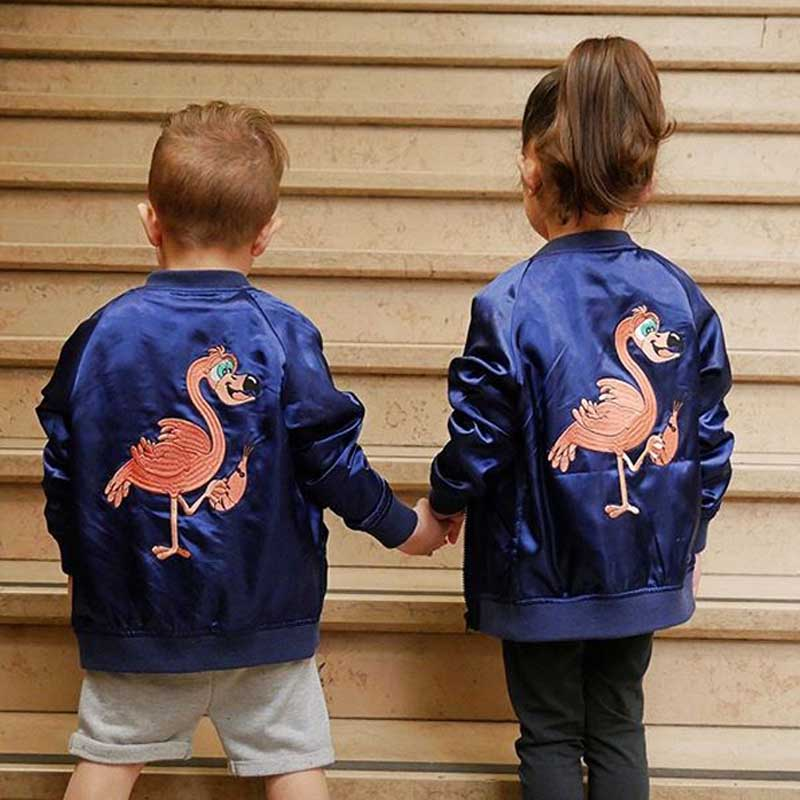 BBK Pre-sale! Bobo&TAO&FRIENDS 2017new autumn winter baby boys coat flamingo embroidery blue kids for girls Windbreaker jacket pre sale autumn winter pink gold sequins tops