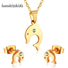 LUXUKISSKIDS New Arrival Fish With Zircon Jewelry Set Stainless Steel Fashion Jewelry(China)