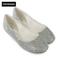 New Arrival Women Dress Shoes Pointed Toe Slip On Girl Crystal Shoes For Women Flats Wedding