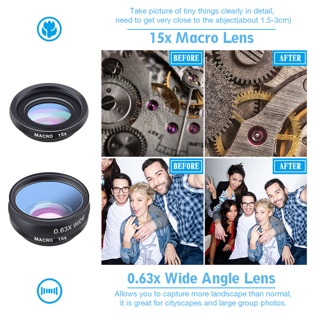 APEXEL 10 in 1 Phone camera Lens Kit Fisheye Wide Angle macro Lens CPL Filter Kaleidoscope and 2X telescope Lens for smartphone 3