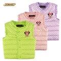 Venda quente 2-10 Anos de Idade Crianças Roupas Antumn/Inverno Do Bebê Para Baixo Casaco Crianças Bonito Polka Dot Impressão Princesa Colete Para Meninas