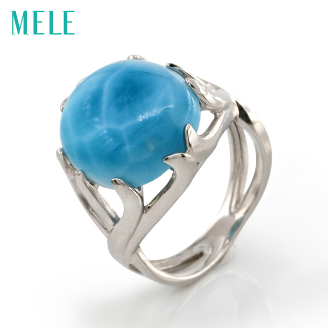 Natural larimar silver ring, oval 14mm*16mm, rare larimar silver jewelry,  top quality, fashion ring for both men and women