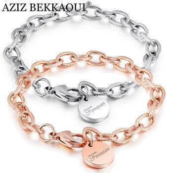 eae6bfd1c398 Pulseras de acero inoxidable con eslabones de cadena personalizados para  mujer con letras de oro rosa para siempre