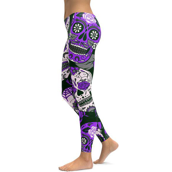312e28179259b US $7.12 20% OFF|8 Colors Floral Skull Women Running Tights S To 4xl Plus  Size Fitness Spring Autumn Outfit Leggings Red Purple Yellow Green Blue-in  ...