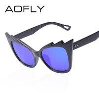 AOFLY Fashion Unique Cat Eye Sunglasses Women Brand New Designer Coating Mirror Sun Glasses Retro Shades