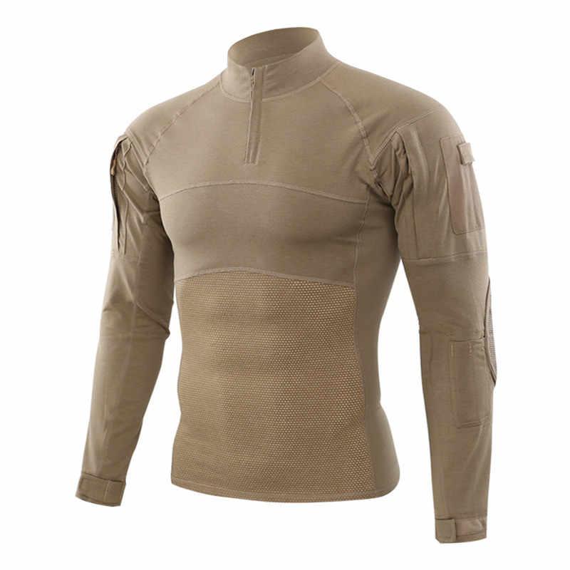 Militaire Stijl Uniform Combat Shirt Mannen Assault Tactische Camouflage US Army T-shirt Airsoft Paintball Lange Mouw Shirts ESDY