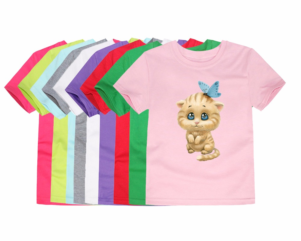 Girl T-Shirt Lovey Baby Choses Kitty Kids Cotton Children Cat Tops Top-100 China Whosale