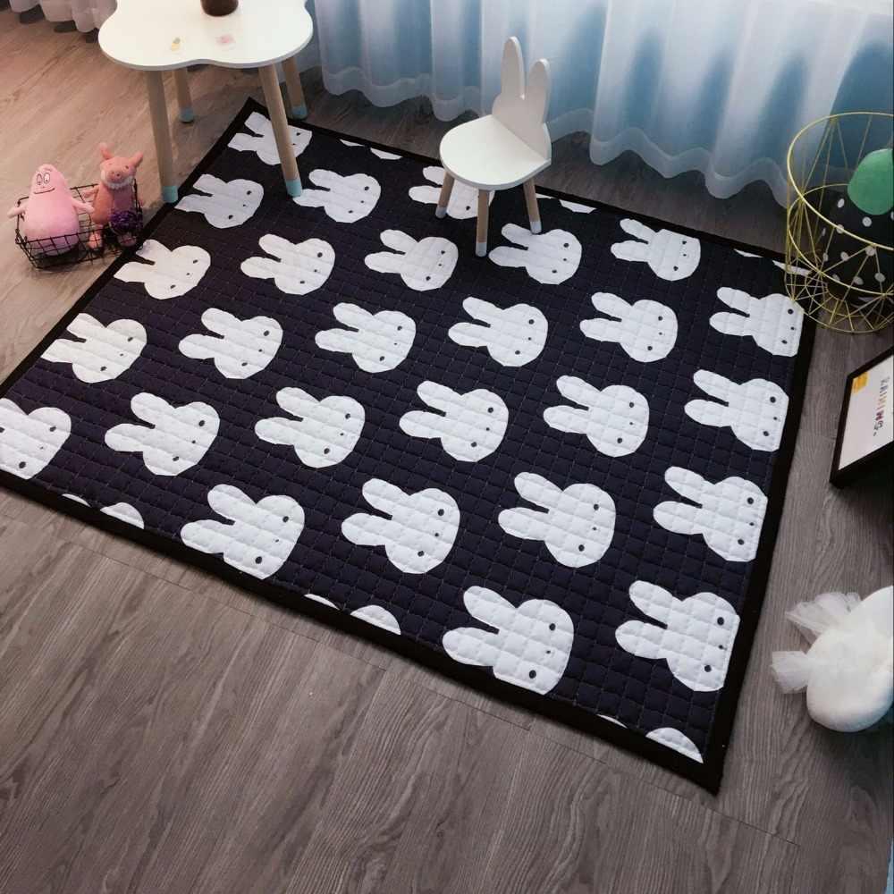 145x195 см белый черный кролик крест мультфильм играть Коврики противоскользящие толстые большие напольные ковры Ковры для Гостиная дети Спальня Ковры s