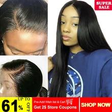 360 синтетический парик бразильские не Реми прямые человеческие волосы парики предварительно сорванные волосы линия с волосами младенца для черных женщин цвет 1B
